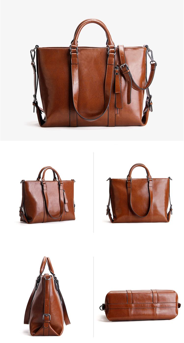2020 design handbags oil waxed leather