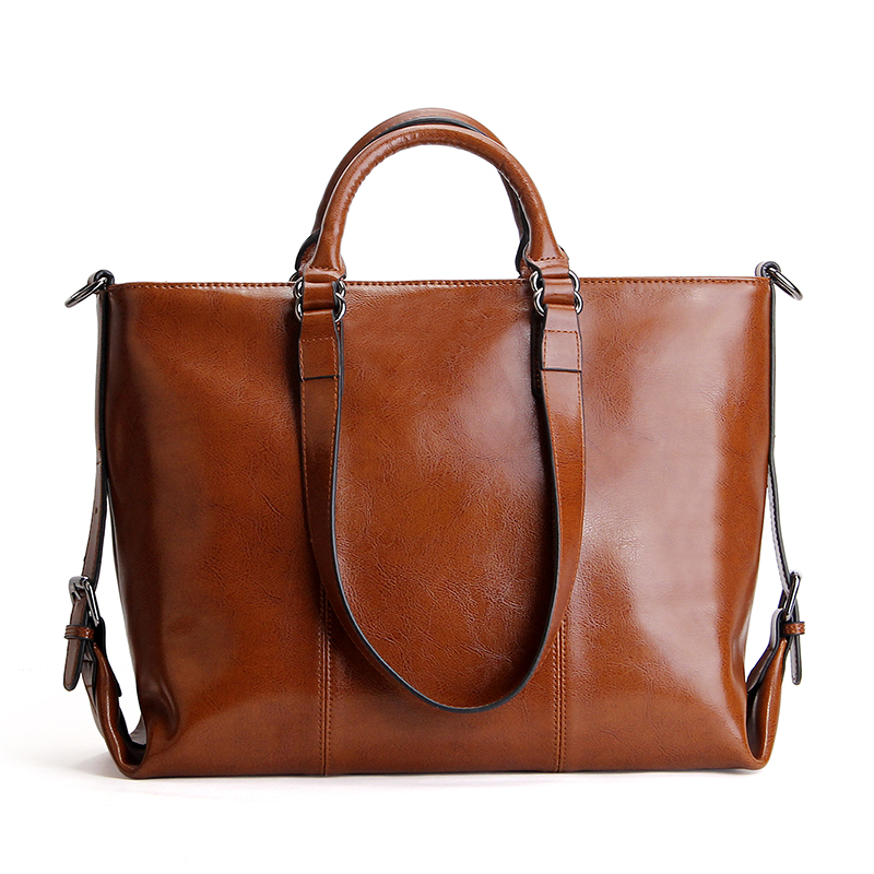 handbags shoulder large daily bag cowhide oil waxed leather