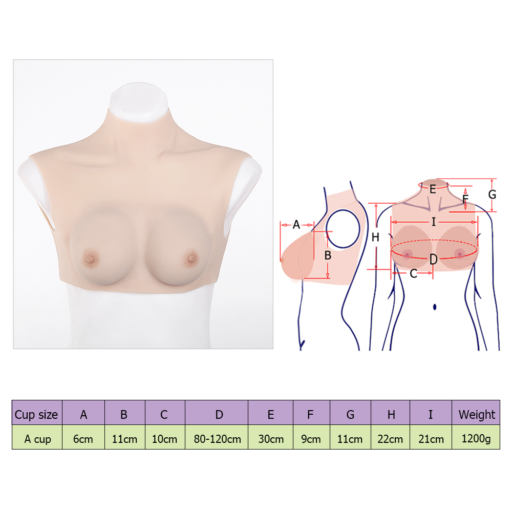 High grade A-cup silicone breast forms stretching