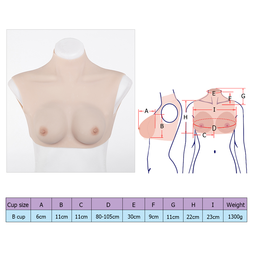 High grade B-cup silicone breast forms stretching