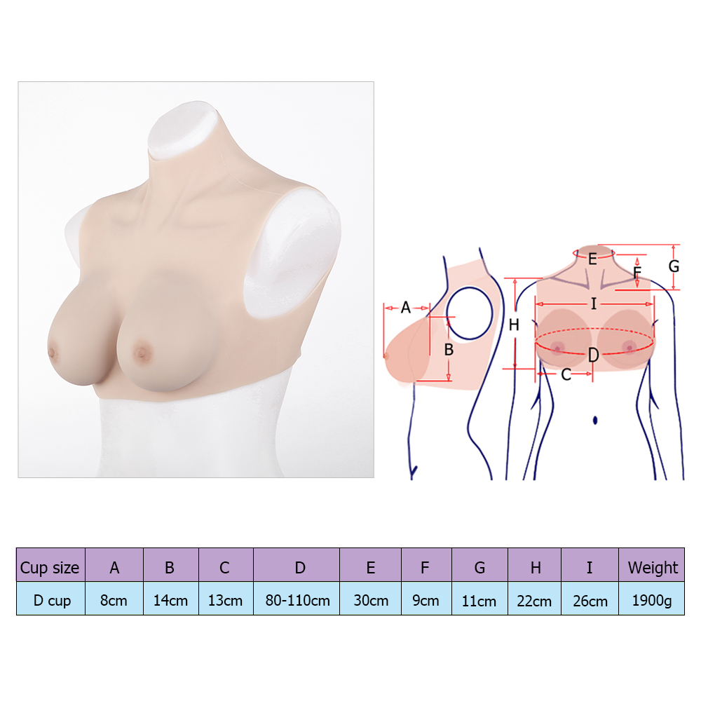 High grade D-cup silicone breast forms Tgirl