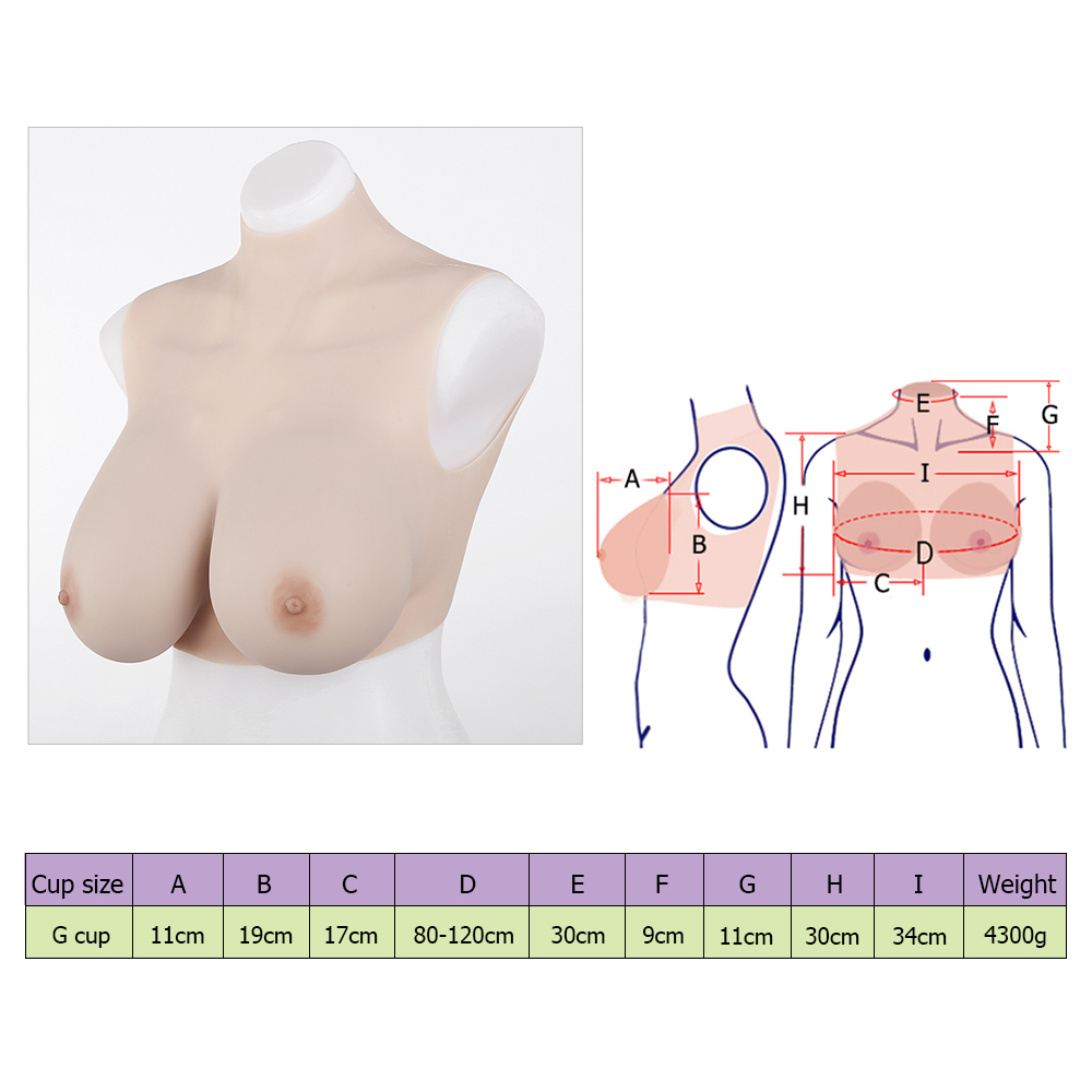 crossdressing G-cup silicone breasts forms