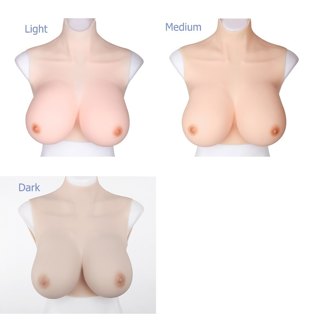 crossdressing silicone breasts forms in 3 colors light medium dark