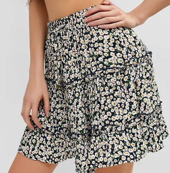 Detail A Line Bohemian Floral Print Ruffle Casual Skirt