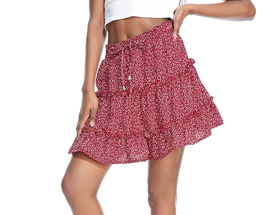 Red High-Waist A-Line Smocked Tiered Skirt