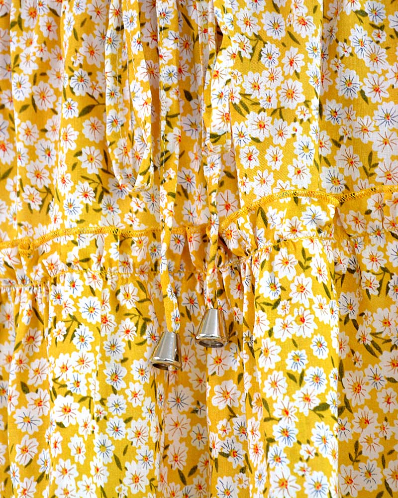 High-waist A-line Print Yellow Ruffles Floral Mini Skirt