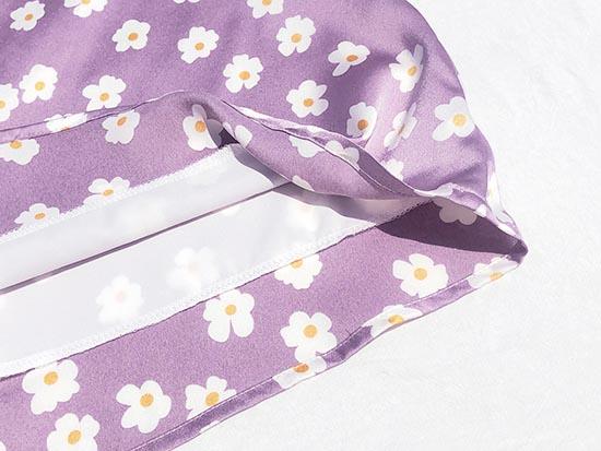 Light Violet Purple Floral Print Short Skirt