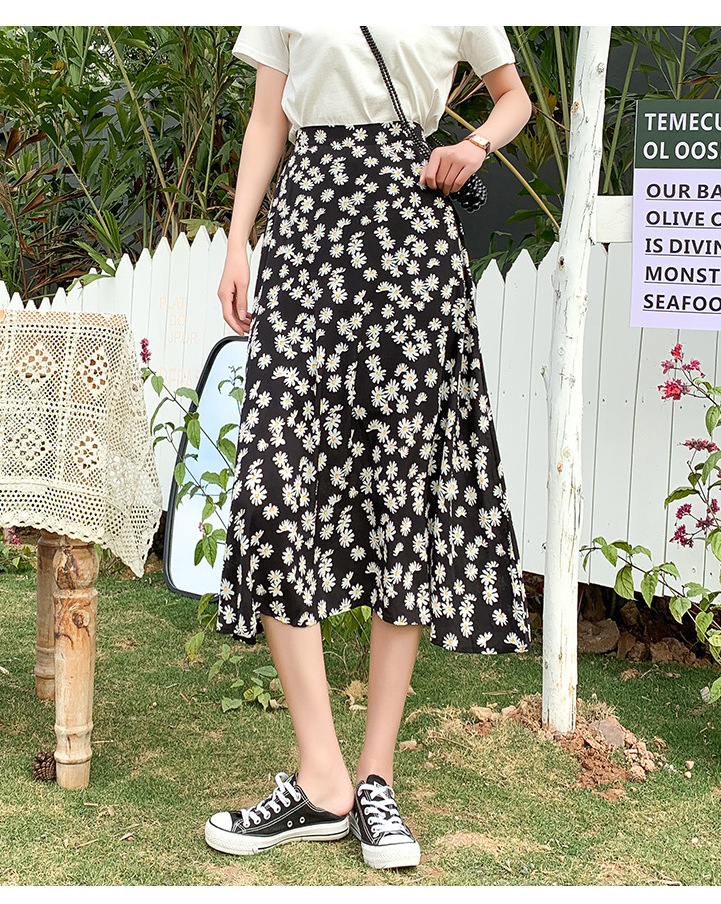 Cheap black floral skirt