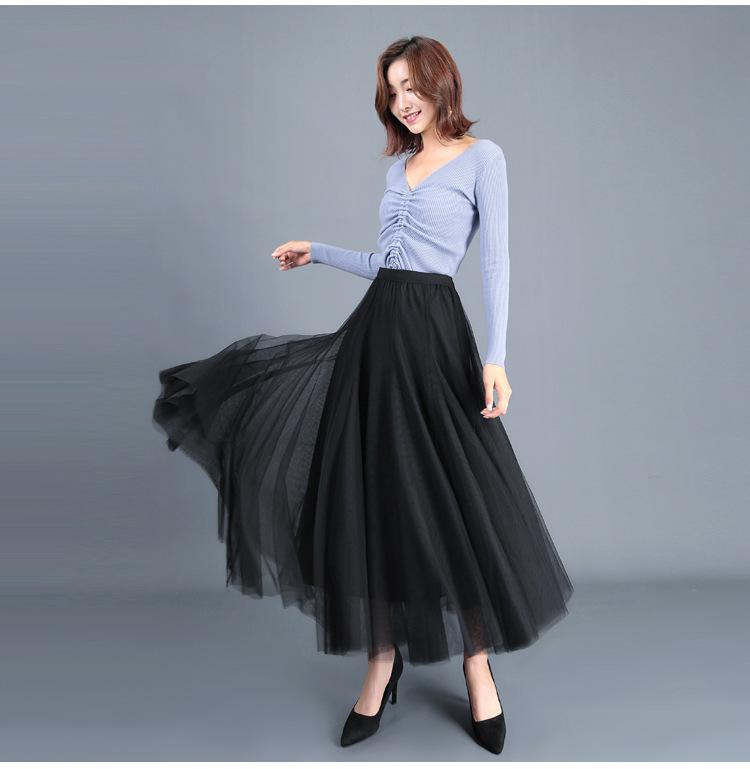 cheap long black tulle skirt