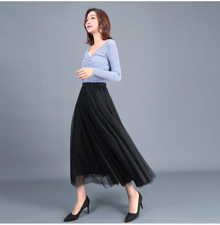 2021 long black tulle skirt