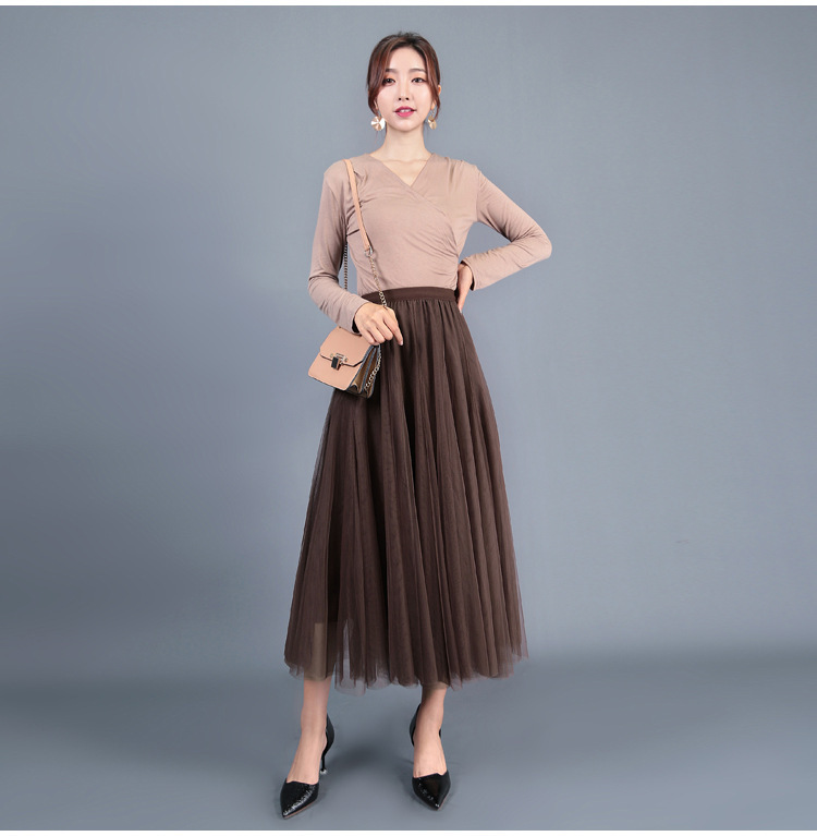 brown color tulle skirt