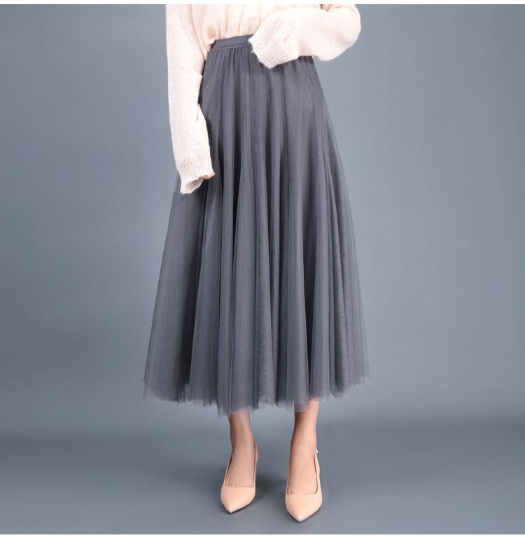 Stylish grey high waist tulle flowy skirt