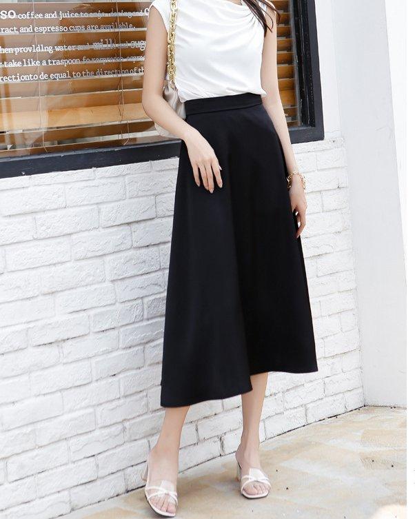 cheap black satin skirt