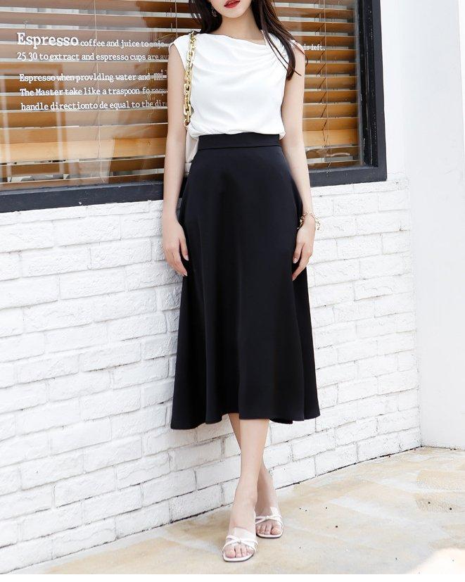 female black satin skirt
