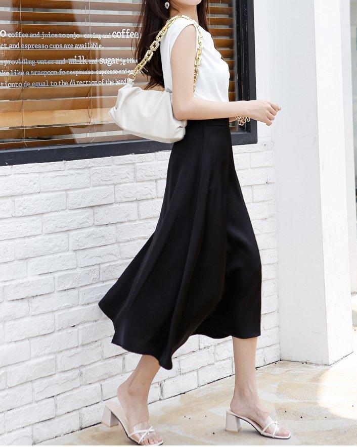 affordable black satin skirt