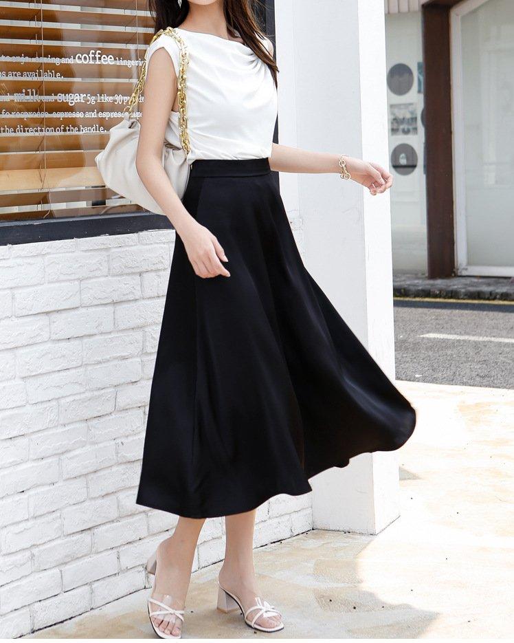 inexpensive black satin skirt