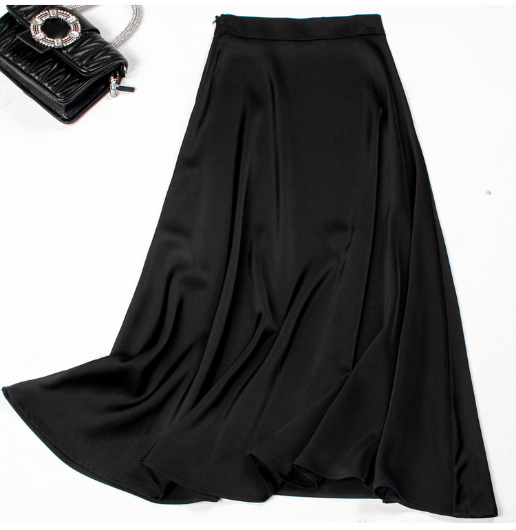 2021 black satin skirt