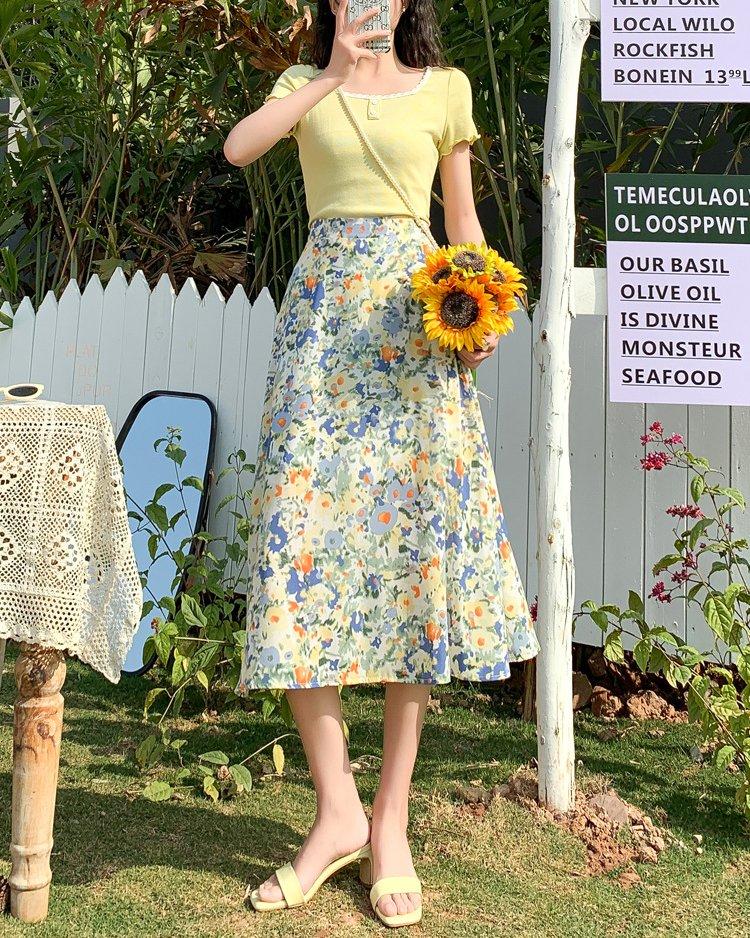 cute blue chiffon floral skirt