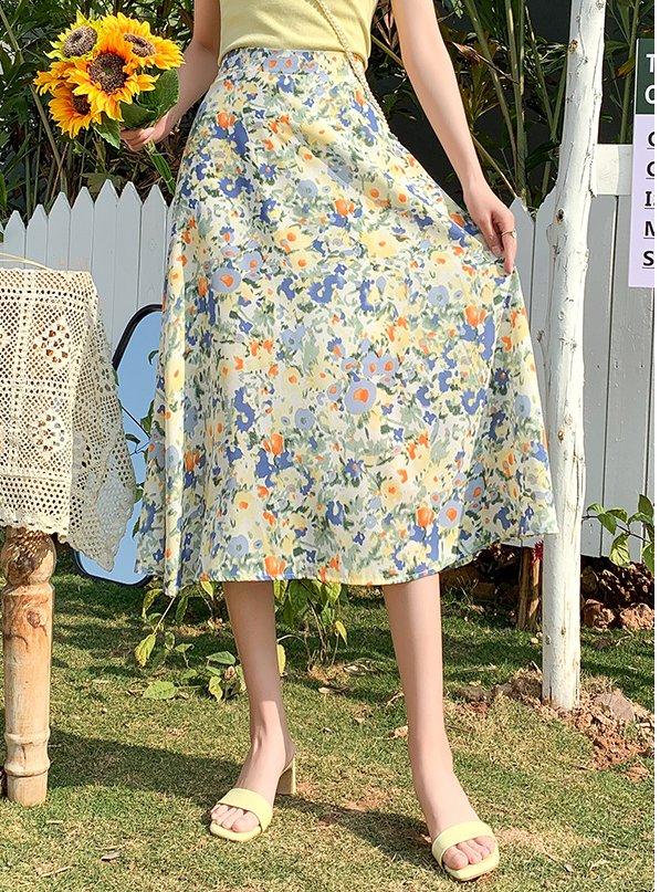 chiffon floral skirt inexpensive cross dress