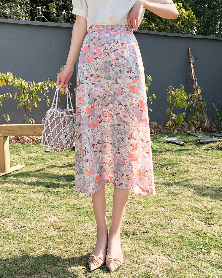 light pink vacation floral skirt