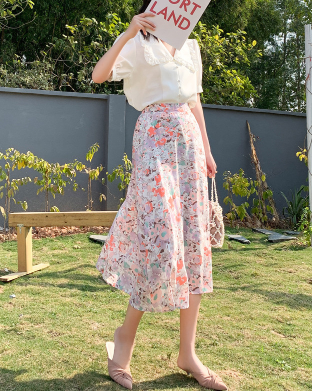 cheap vacation floral skirt