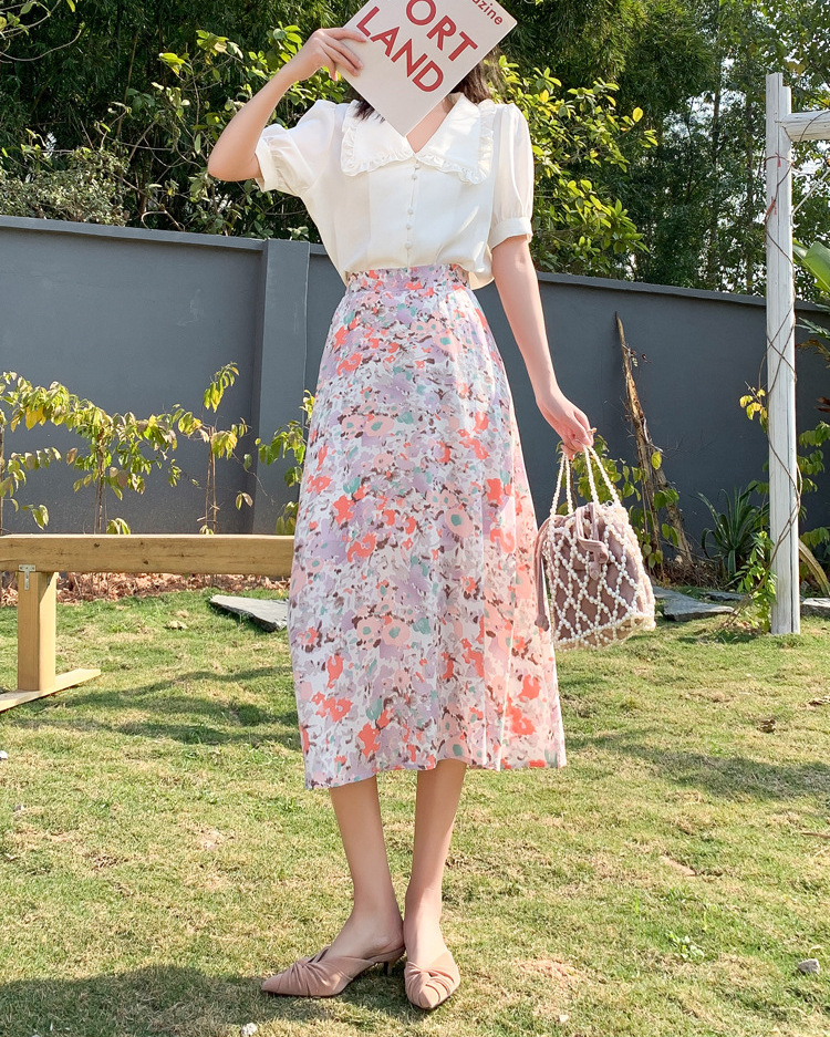 light pink vacation floral skirt on sale