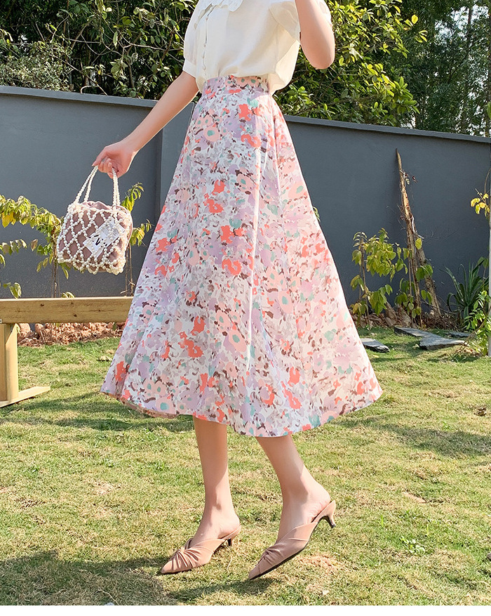 light pink vacation floral skirt 2021