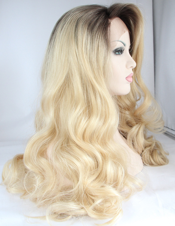 Blonde Wavy front lace affordable Long Wigs