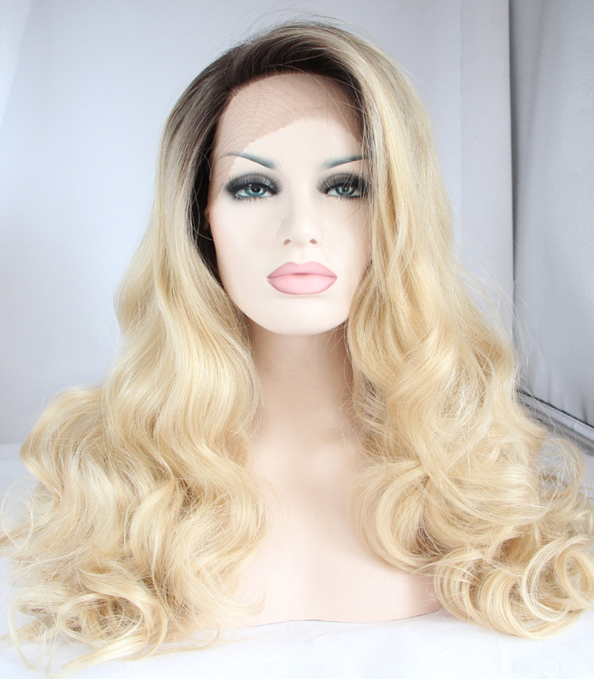 Blonde Wavy front lace durable Long Wigs