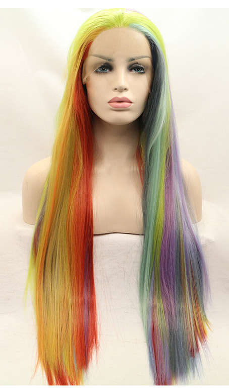 rainbow wigs front lace cheap