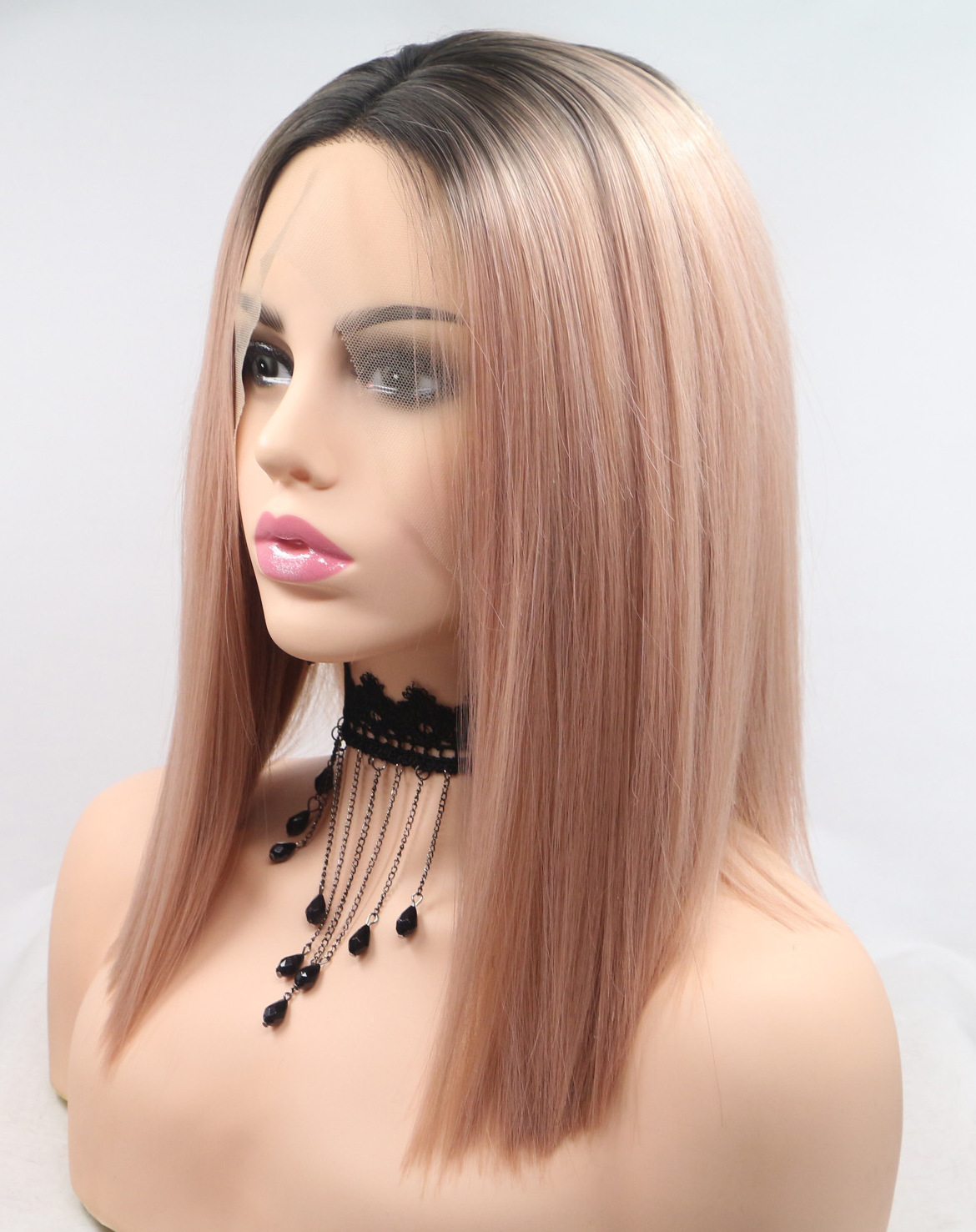 Light color straight medium lace wigs
