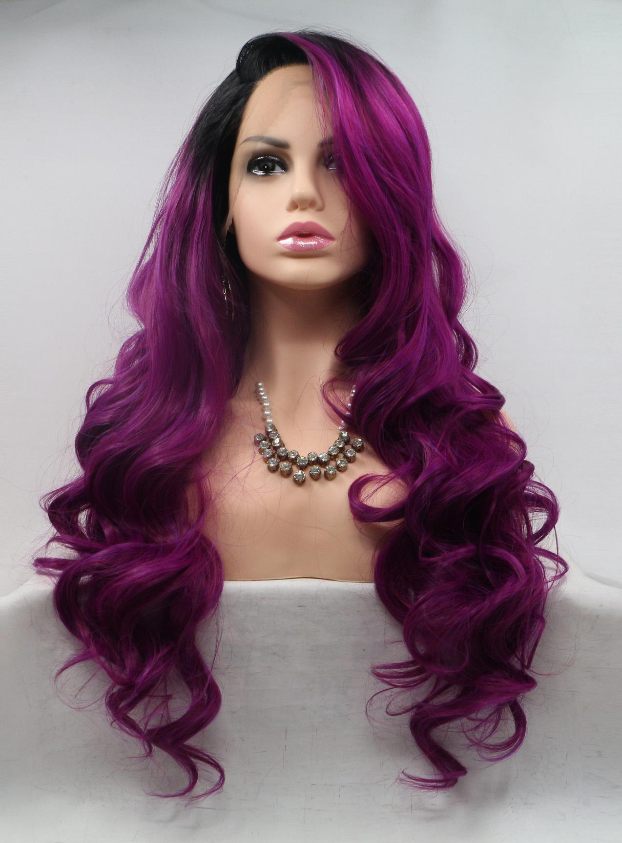 deep purple long length lace wigs